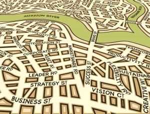 Editable vector street map of a generic city with business street names