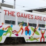 PanAm athletes took the ride east and west and west to east today on the 501 streetcar along Queen St to hype the fact that tickets for the PanAm games go on sale on Monday