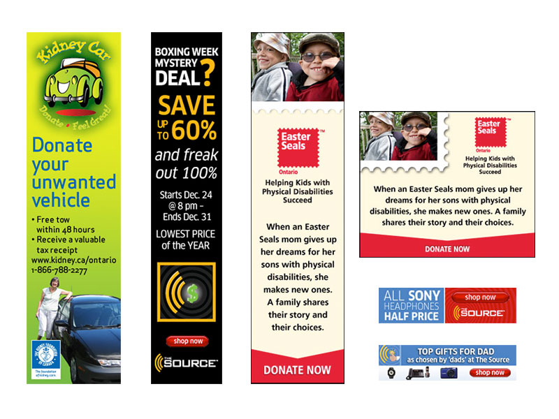 assorted banner ads