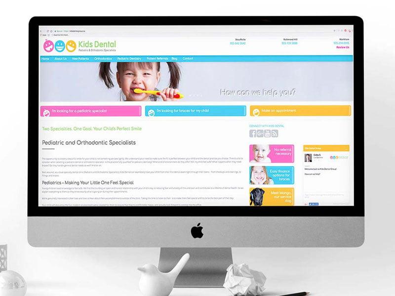 kids dental website design-brand-development-toronto image